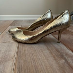 Kate Spade Metallic Gold Crackle Gratistoo Heels